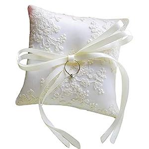 LORTAL Ringkissen für Hochzeit mit Stickerei Kissen, elfenbeinfarben für den Strand Hochzeit 13 x 13 cm / 5,1 x5,1inch RP15