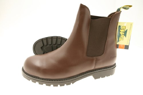Tuffa - Scarponi di sicurezza Trojan in pelle, con punta in metallo e suola in gomma, Marrone (marrone), Taglia 35 Marrone - marrone