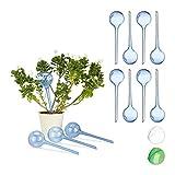 Relaxdays Bewässerungskugeln, 12er Set, Dosierte Bewässerung, 2 Wochen, Topfpflanzen, Kunststoff, Versch. Farbvarianten (Blau)