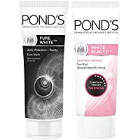 Pond's Pure White Anti Pollution With Activated Charcoal Facewash, 100g And Pond's White Beauty Spot Less Fairness Face Wash, 200 g