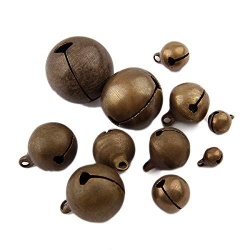 Yalulu 50 Stück 6-20 MM Laute Jingle Bells Glöckchen Schellen mit Öse Hänger Perlen für Das Handwerk Weihnachten Deko (20mm)