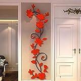 MEIbax Wandtattoos Abnehmbare DIY 3D Spiegel Vinyl Schlafzimmer Wandaufkleber für Kinder Baby Schlafzimmer Kinderzimmer (rot)