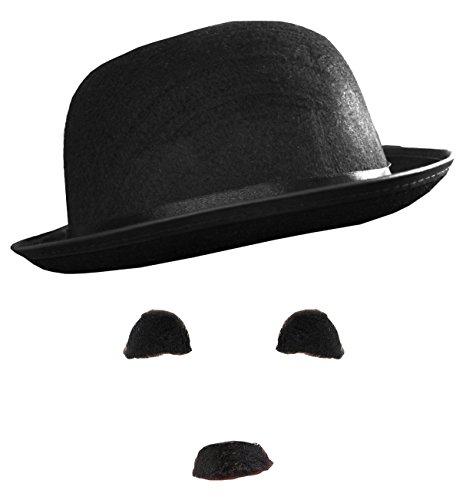 ILOVEFANCYDRESS 1 X Charlie Chaplin KOSTÜM ZUBEHÖR:: Hut,SCHNURBART/SCHNAUTZER,AUGENBRAUEN