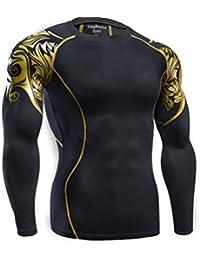 LUCKY-U Camiseta De Compresión, Camiseta De Ciclo De Fitness De Mangas Largas Camiseta