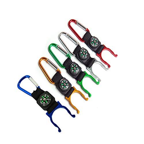FiedFikt Multifunktionaler Mini-Karabiner für Camping, Kompass, Wasserkocher, Schnalle, Kompass, Karabiner, 20 Stück - Essentials Zubehör-set Chrom