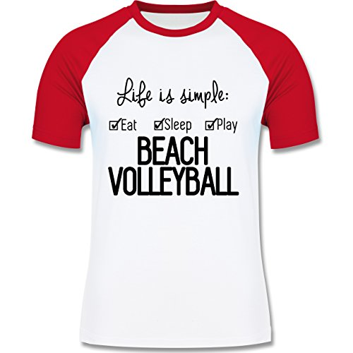Volleyball - Life is simple Beachvolleyball - Herren Baseball Shirt Weiß/Rot