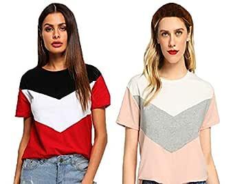 JUNEBERRY Women's Regular Fit T-shirt (Set of 2)