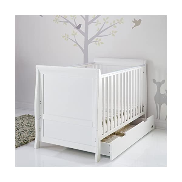 Obaby Stamford Sleigh Classic Cot Bed - White Obaby Adjustable 3 position mattress height Bed ends split to transforms into toddler bed Includes matching under drawer for storage 5