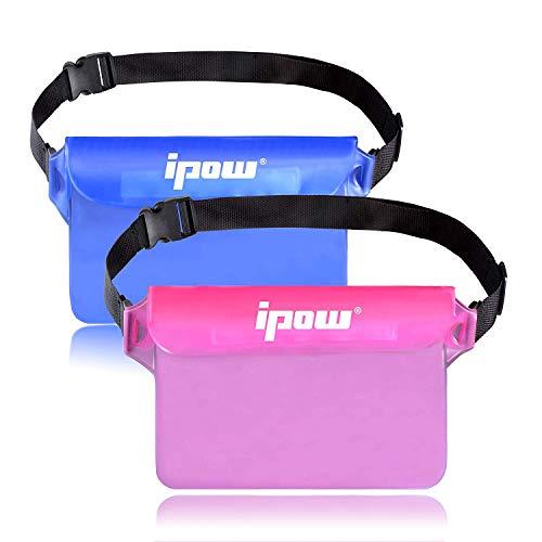 ipow 2 Pack wasserdichte Tasche Beutel Hülle Unterwassertasche Bauchtasche vollkommen für iPhone, Handy, Kamera, iPad, Bargeld, Dokumente vor Wasser schützen (pink+ blau) (Wasser-tasche)