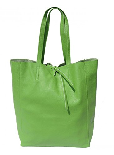 SUPERFLYBAGS Borsa Donna Shopper a Spalla In Vera Pelle modello Elba Made In Italy Verde