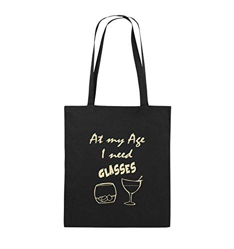 Comedy Bags - At my Age I need GLASSES - Jutebeutel - lange Henkel - 38x42cm - Farbe: Schwarz / Pink Schwarz / Beige