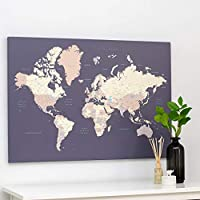 Premium Quality - Push Pin World Map - Violet - Mounted Canvas Travel Map - Pin Board with Pins - 3 Sizes to Choose