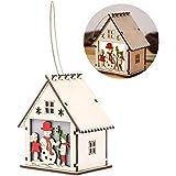 Christmas Hanging Ornament Santa Claus Snowman House Christmas Ornament Hanging Decor With LED Light