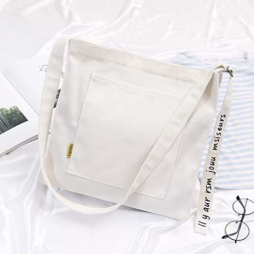 BAIJJ Beiläufige Tasche Weibliche Band Stickerei Hohe Kapazität Leinwand Schulter Umhängetasche Licht Datei Handtasche (Weiß) (Umhängetasche-datei)
