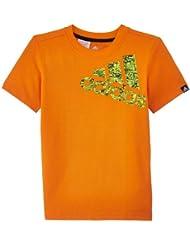 adidas Performance Logo - Camiseta de fitness para niño, color naranja, talla 15 años (164 cm) [FR 158/164]