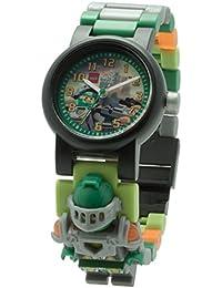 LEGO Nexo Knights 8020523 Aaron Kinder-Armbanduhr mit Minifigur und Gliederarmband zum Zusammenbauen | grün/orange | Kunststoff  | analoge Quarzuhr | Junge/ Mädchen | offiziell