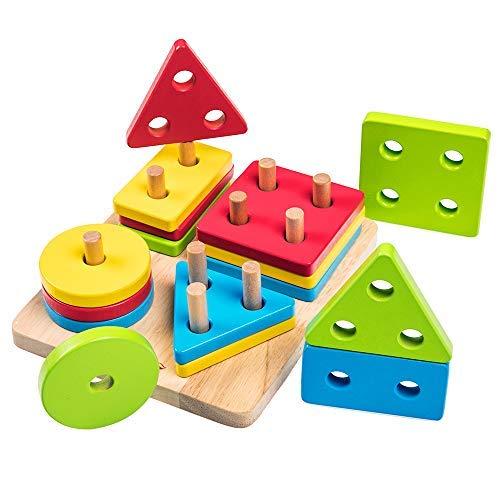 Yikky Große Größe Holz Form Sortierer Puzzle Vorschule Bildungsform Erkennung Block Stapler für 1 2 3 4-5 Jahre Alt Kleinkinder - Holz-puzzle Kreis