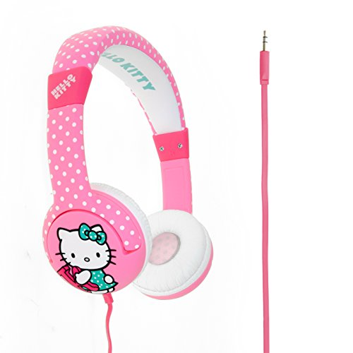 Hello kitty junior on-ear leggero cuffie per bambini con 3,5mm audio cavo–hot polka dot