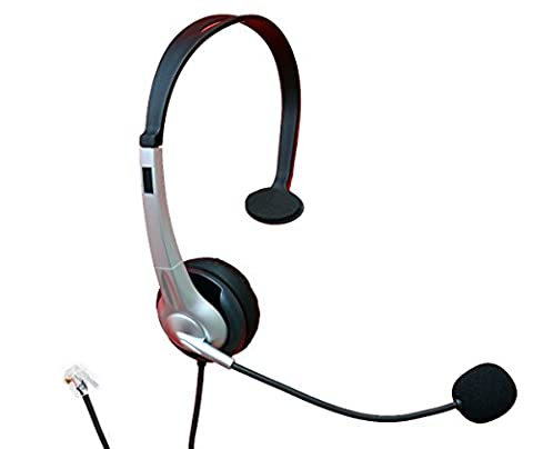 4Call H163CMB Monaural Call Center Telephone RJ11 Headset Headphone with mic + Noise Canceling for Plantronics M10 M22 Vista Adapter and Cisco 7975 9971 Office Landline Desk IP