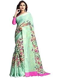 Kotton Mantra Blue Linen Cotton Floral Print Designer And Party Wear Saree With Blouse Piece