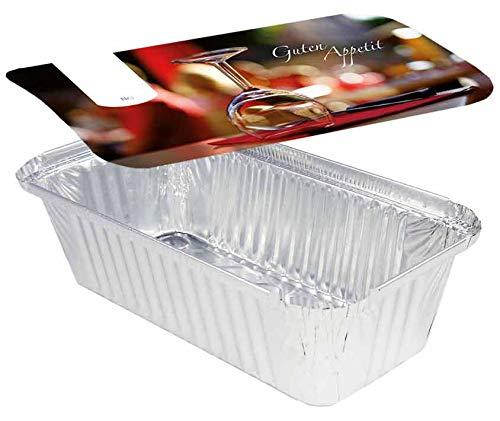 Rehoca 1000 Aluschalen eckig mit Motiv Deckel Gourmet • 940ml • 218 x 113 x 54 mm • Lasagneform • Alubehälter mit bedrucktem Kartondeckeln • alukaschiert (1000 Stück)