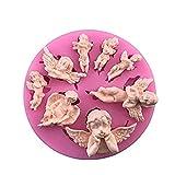 Dfghbn Wiederverwendbar Fondant Kuchen backen 8 kleine Engel Kombination flüssige Silikonform