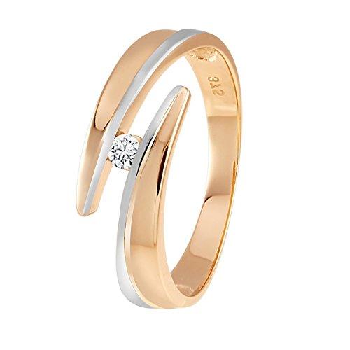 Diamond Line Diamond Line Damen-Ring 375er Gold 1 Diamant ca. 0,05 ct.
