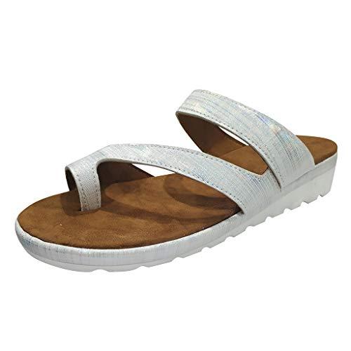 ✿✿Eaylis Damen Sandalen Vintage Leder Einfarbig Dicke Zehen Sommer Strand Schuhe Hausschuhe Stilvoll Und Elegant -