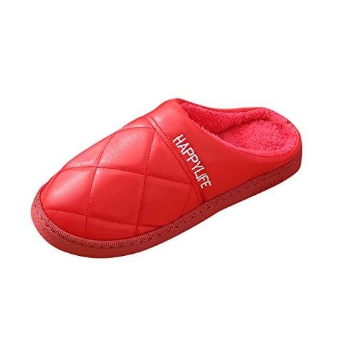 SuperSU-Hausschuhe Casual Warmer Damen Verdicken Hausschuhe Spleiß Gestrickte Baumwolle Korallen Vlies Gefüttert rutschfeste Pantoffeln für Drinnen und Draußen Hausschuhe