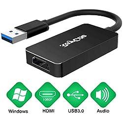 Adaptateur USB vers HDMI, Carte vidéo HD Adaptateur de câble Full HD 1080P pour Ordinateur Portable HDTV TV PC Windows 7/8/10 (Black)