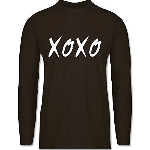Shirtracer Statement Shirts - XOXO - Hugs and Kisses - Herren Langarmshirt Braun