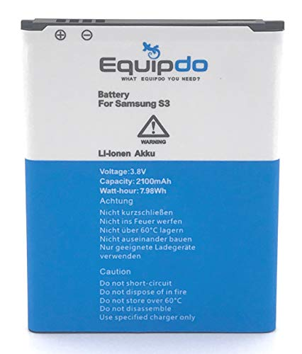 Equipdo Ersatz Akku für Samsung Galaxy S3 Batterie Ersatzakku GT-i9300 EB-L1G6LLU Neo LTE (2100mah 3.8V 7.98Wh) Ohne NFC