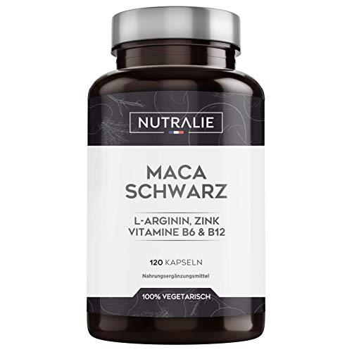 Maca Schwarz aus Peru 24.000mg pro Dosis mit L-Arginin, Zink und Vitaminen B6 B12 | 120 pflanzliche Kapseln aus hochkonzentriertem Maca-Extrakt 20:1 | Nutralie
