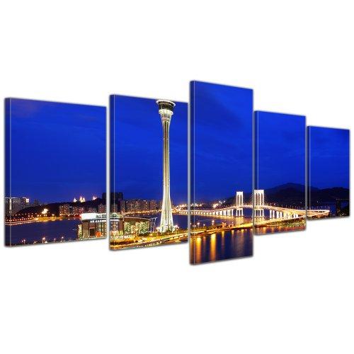 bilderdepot24-cuadros-en-lienzo-macau-en-la-noche-de-china-200x80-cm-5-piezas-enmarcado-listo-bastid
