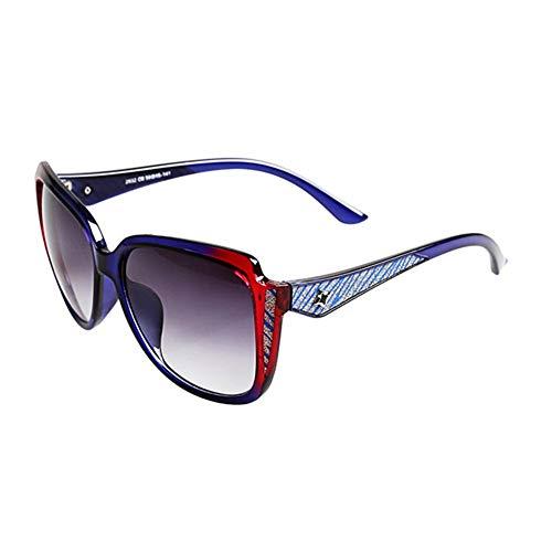 Yuany Sonnenbrille Goggle Driving Brille Frau Männer Round Face Large Border Classic Retro Polarized Light Sonnenschutz Anti-UVA Anti-UV 100% (Farbe: Blau und Rot)