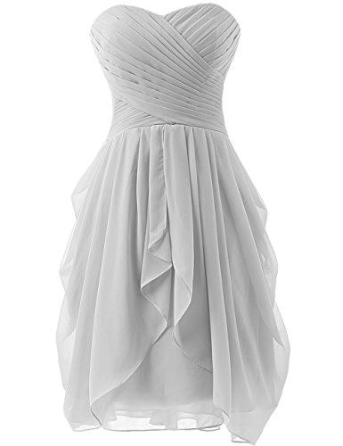 HUINI Strapless Brautjungfer Kleider kurz Chiffon Abendkleid mit Falte besetzt Ballkleid Silver Size (Plus Size Silver Kleider)