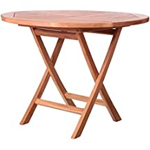Table De Jardin Ronde Pliante En Teck 100cm KENITA   L 100 X L 100 X 78.5