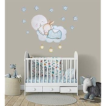 Hase Wandtattoo Kaninchen Aufkleber für Kinderzimmer Ideen Junge Babyzimmer Kinderzimmerdekoration Mond Sticker Blau Sterne Wanddeko Himmel Wandsticker Wolken Wandaufkleber Wohnzimmer Schlafzimmer