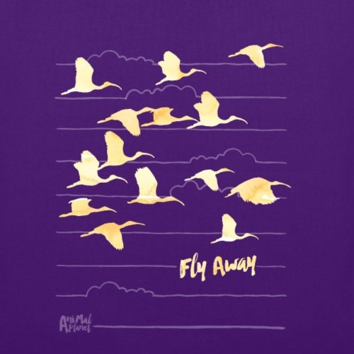 Spreadshirt Animal Planet Kraniche Zugschwarm Fly Away Stoffbeutel Lila