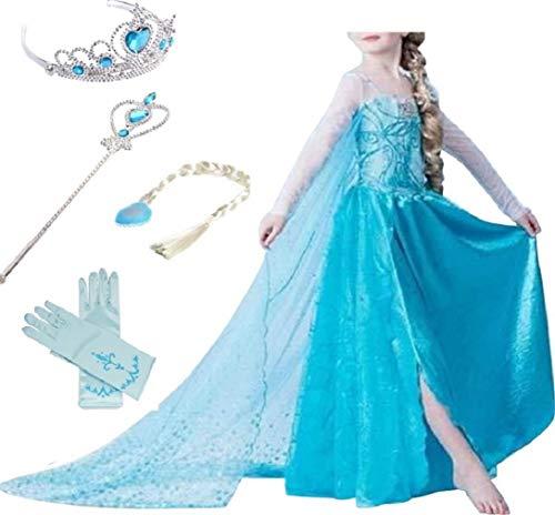 Timesun® Mädchen Prinzessin Schneeflocke Süßer Ausschnitt Kleid Kostüme mit Diadem, Handschuhen, Zauberstab und Zopf, Gr. 98/140 (110 ( Körpergröße 110cm ), #01 kleid mit 4 Zubehör)