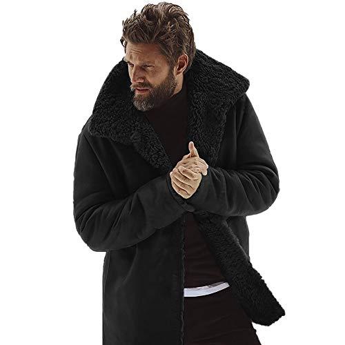 Mens Winter Medium Length Woollen Jacket Thickened Coat Herren Jacke Winterjacke üBergangsjacke Steppjacke Wolljacke Pelzjacke Bomberjacke Freizeitjacke Sportliche Parka Outdoor(schwarz,XL)