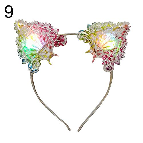 mAjglgE Haarreif mit Spitze,Frauen LED Leuchten Katze Ohren Stirnband Headwear Party Supplies 9#