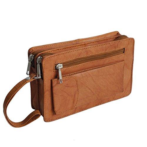 Bag Street Leder - exquisite Leder Herren Handgelenktasche , Herrentasche , Handtasche , Handgepäck-Tasche ( Tan - Doppelkammer ) - präsentiert von ZMOKA®