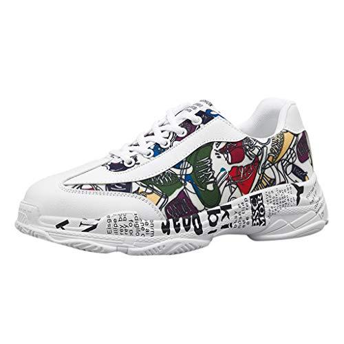 Subfamily❀Scarpe Sportive da Uomo Color Graffiti Sneakers Stringate Leggere con Taglio Basso Scarpe da Corsa Scarpe Casual da Arrampicata di Moda Scarpe da Ginnastica Festa del papà