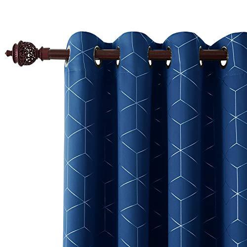 Deconovo tende oscuranti termiche isolanti tende stampate con occhielli 117x229cm blu 2 pannelli