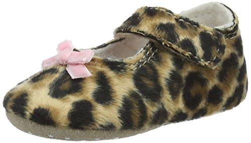 """Living Kitzbühel """"Newborn"""" Leopard Mit Rosa Schlaufe, Chaussons pour enfant bébé fille Marron - Braun (Leopard 235)"""