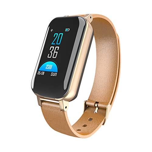 VERYMIN Smart Uhr Dual Bluetooth 5.0 Kopfhörer Smart Armband Herzfrequenz Blutdruck Tracker Smart Watch Männer Für IOS Android Phone, Gold -