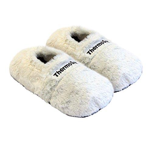 Thermo Sox aufheizbare Hausschuhe für Mikrowelle und Ofen - Mikrowellenhausschuhe Wärmepantoffeln Wärmehausschuhe Wärmeschuhe Fußwärmer Supersoft, Größe:36/40 EU, Farbe:Creme