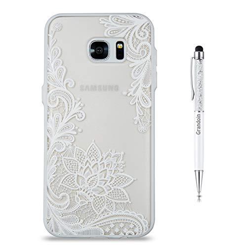 Grandoin Galaxy S7 Edge Hülle, 2 in 1 Ultra Dünne Schale Luxus Ultra Dünn Weich TPU Bumper Case Silikon Schutzhülle Handy Tasche für Samsung Galaxy S7 Edge (weißer Lotus) (Handy Case Für 2 Samsung)