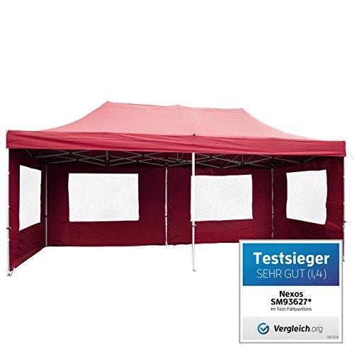 PROFI Faltpavillon Partyzelt Pavillon 3x6 m mit Seitenteilen - hochwertige Ausführung - wasserdichtes Dach mit PVC-coating - 270 g/m² incl. Tragetasche und Zubehör – Farbe: burgund